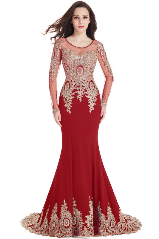 Chic Long Sleeve Evening Gowns | 2020 Mermaid Prom Dress With Lace Appliques