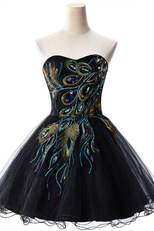 Sexy Black Sweetheart Short Tulle Homecoming Dress Peacock Design