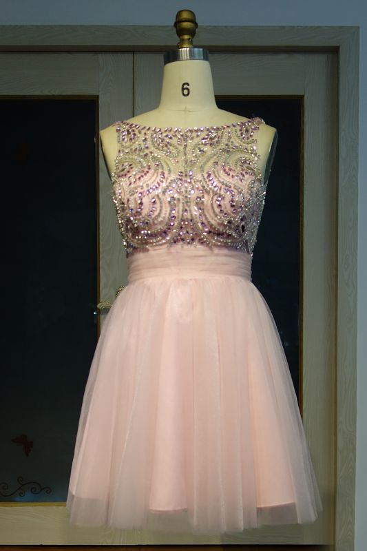 Fashion Pink Jewel Cap-Sleeve Tulle Short Cocktail Dresses