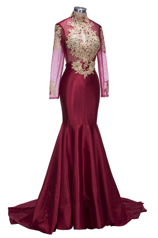 Mermaid Gold-Appliques Long-Sleeves Burgundy Keyhole Open-Back Prom Dresses ly164