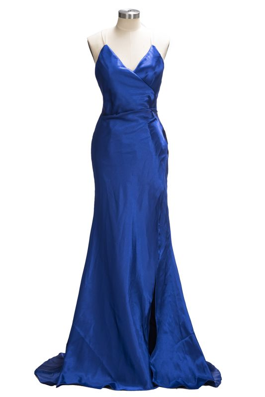 Royal-Blue Open-Back V-Neck A-Line Side-Slit Sexy Evening Dress qq0194