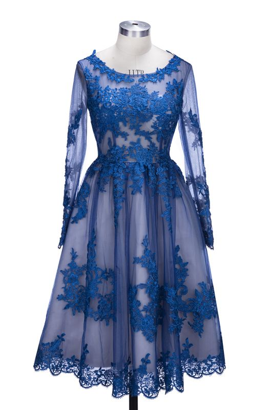 Delicate Ruyal Blue Appliques Prom Dress 2020 Long Sleeve