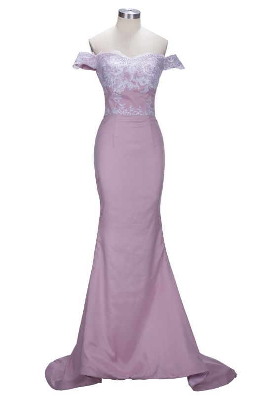 Blush Pink Off-the-Shoulder Lace Appliques Mermaid Prom Dresses