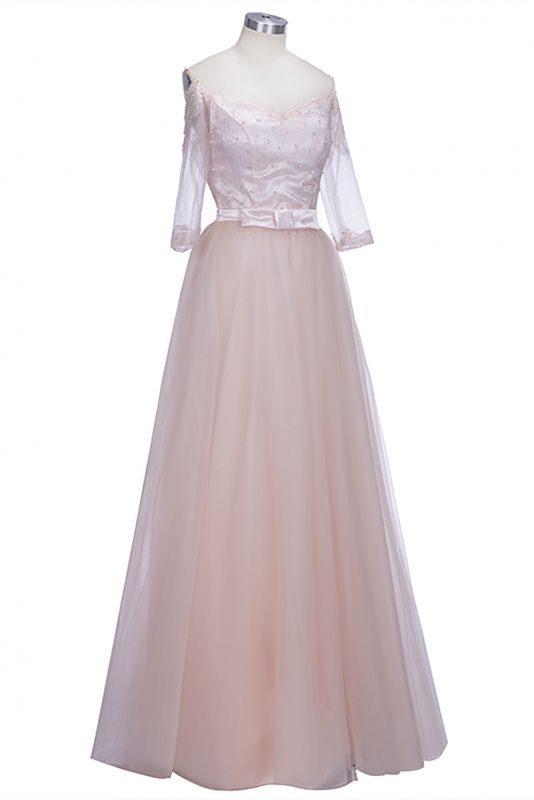 Off-the-shoulder Tulle Lace A-line Glamorous Half-Sleeves Prom Dresses