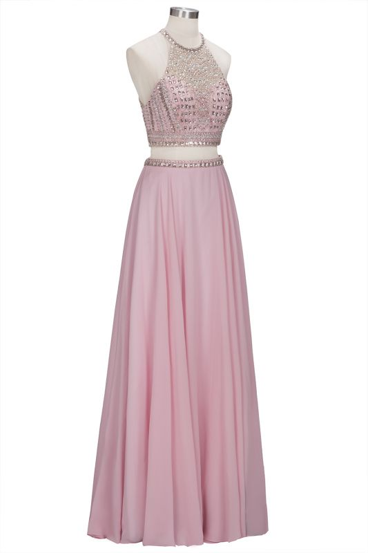 Pink Crystals Floor-length A-line Two-piece Delicate Evening Dress