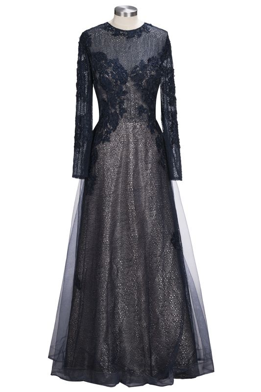 Lace-Appliques Black Long-sleeve Modern Scoop Evening Dress