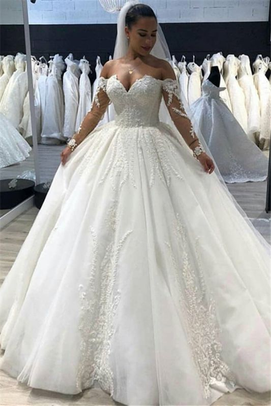 Vintage Ball-Gown Lace Appliques Bridal Gown | Long-Sleeves Off-The-Shoulder Wedding Dresses
