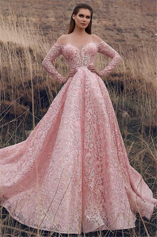 Pink Lace Applique Long-Sleeves A-Line Prom Dress   Elegant Off-The-Shoulder Princess Prom Gown