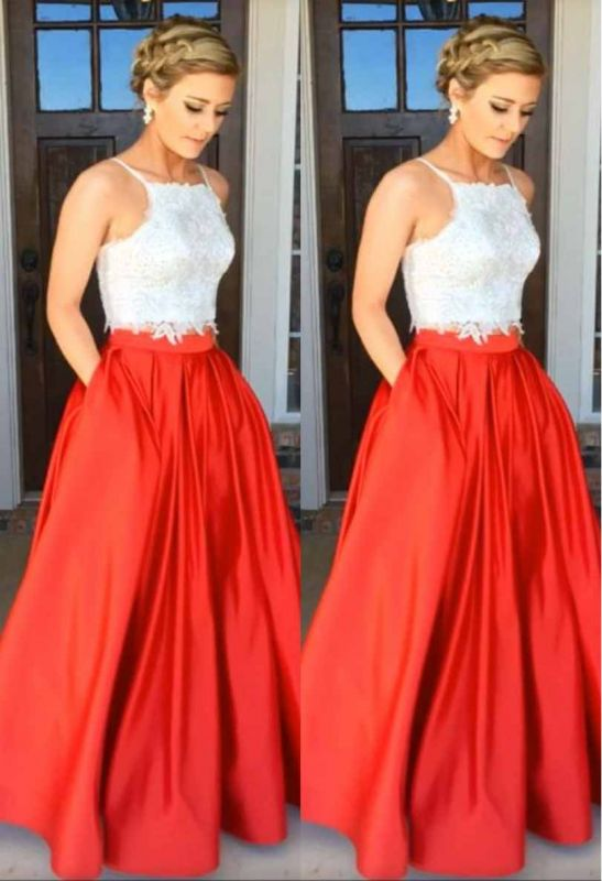 A-Line Glamorous Two-Piece Lace Prom Dress