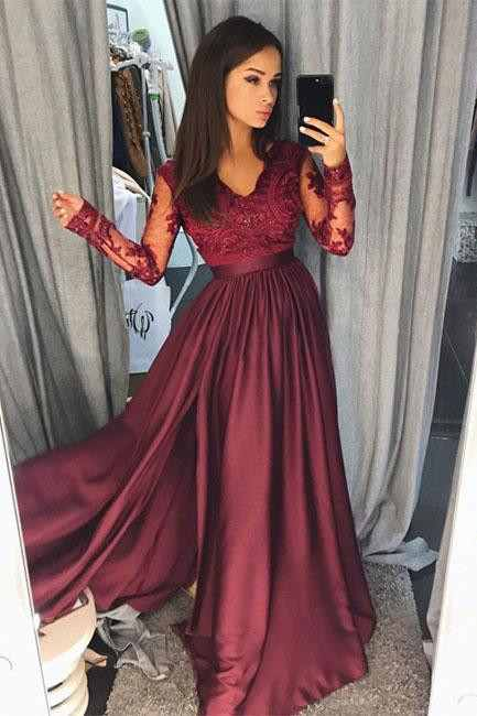 Maroon Burgundy Long Sleeve 2020 Prom Dress Lace With Split