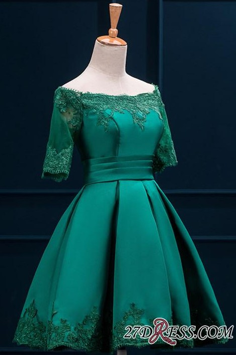 2020 Lace Green Short Appliques Charming Half-Sleeve Homecoming Dress BA3856