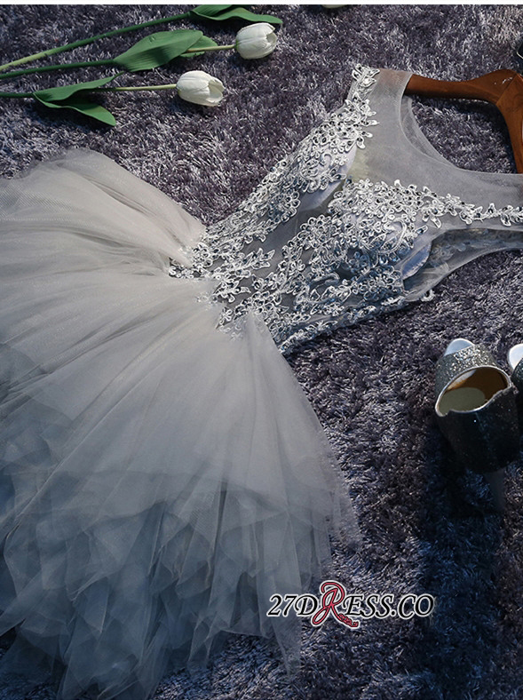 Lace-Appliques Cute Sleeveless Short Illusion Puffy Homecoming Dress