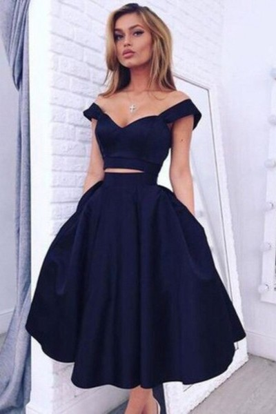 Gorgeous Two pieces Off-the-shoulder Prom Dress 2020 Short Homecoming Dress BA3609