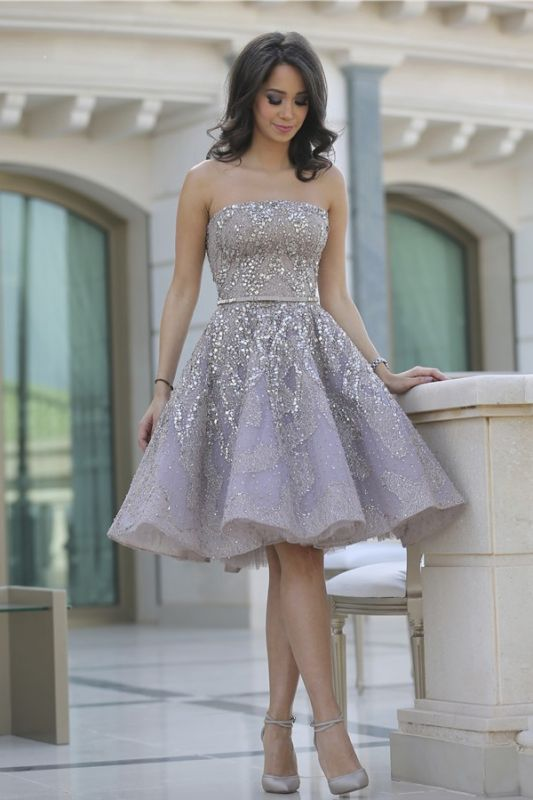 Gorgeous Strapless 2020 Sequins Appliques Short Homecoming Dress MH