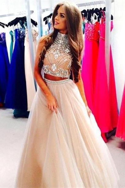 Gorgeous Two Pieces High-Neck Prom Dresses 2020 Beadings tulle A-Line