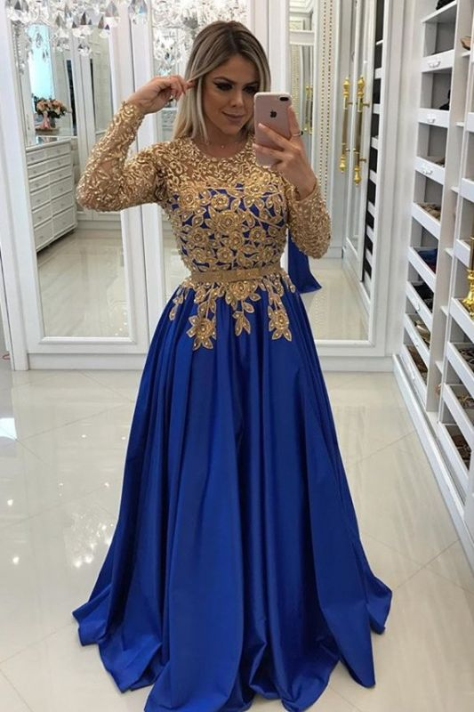 Modern Royal Blue & Gold Lace Evening Dress | Long Sleeve Party Gown BC0144