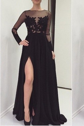 Sexy Lace Appliques Black 2020 Prom Dress Front Split Long Sleeve Illusion Sweep Train