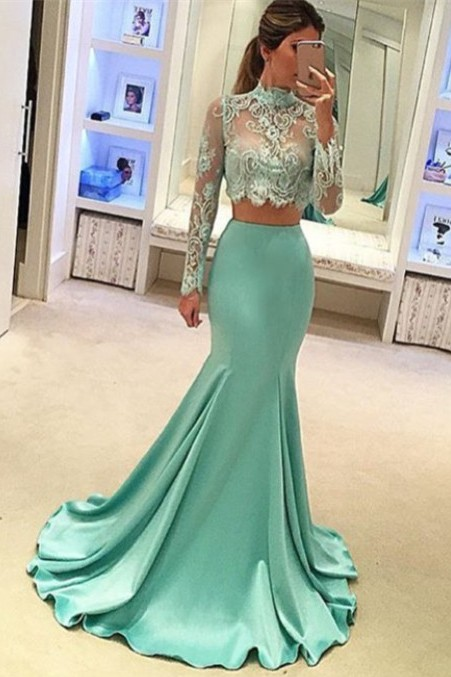 Stunning Long Sleeve Two Pieces Prom Dress 2020 Lace Mermaid BA3838