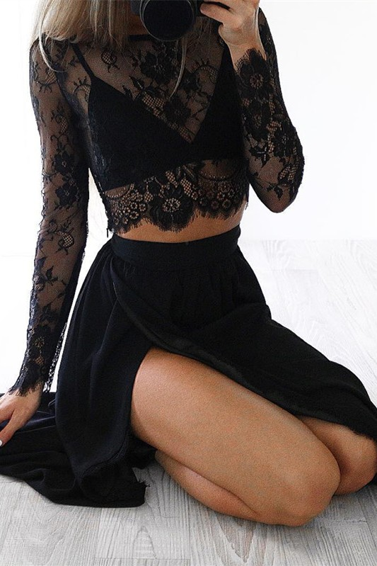 Sexy Black Long Sleeve 2020 Prom Dress Two Pieces Lace Front Split BA4951