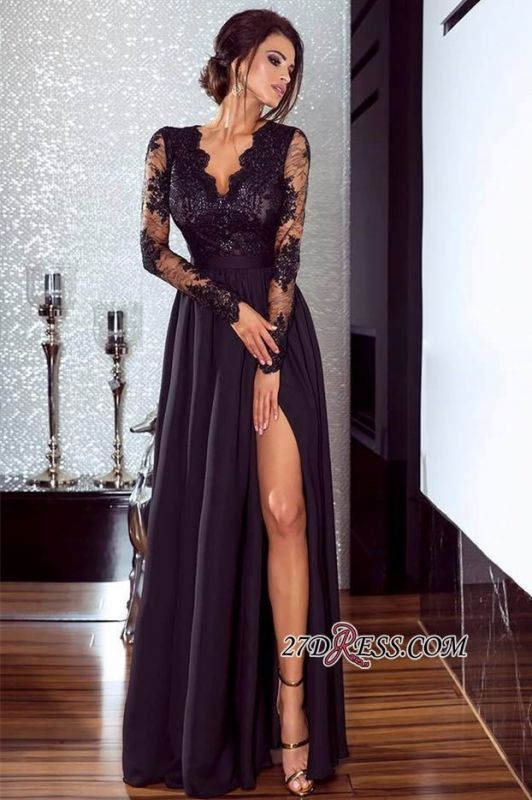 Lace Long Prom Dress | 2020 Long Sleeve Evening Gowns With Split BA7525