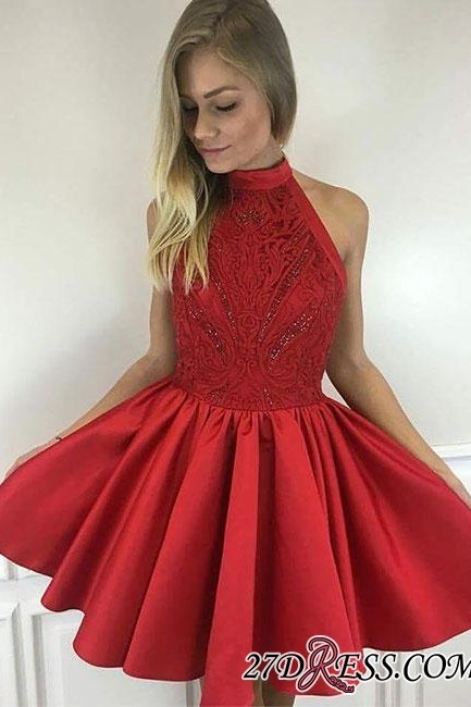 Cute A-line Short Red Beading High-neck Cocktail Dress