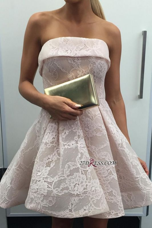 Strapless lace short homecoming dress, 2020 short prom dress
