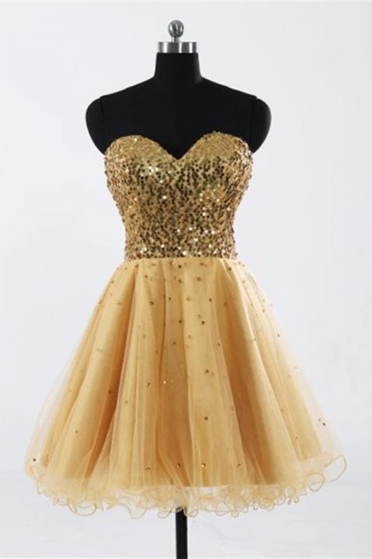 Glamorous Sweetheart Sleeveless Short Homecoming Dress With Sequins LF17155