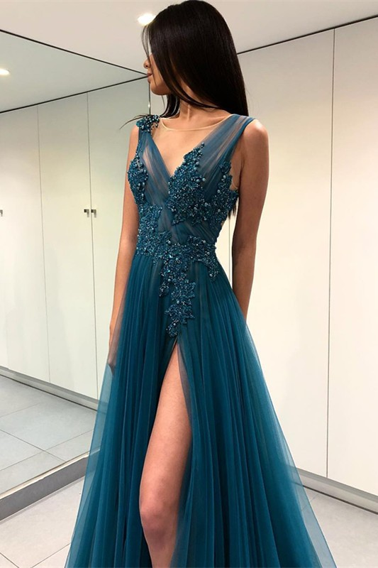 Gorgeous Scoop Long Evening Dress | 2020 Forml Dress With Slit On Sale