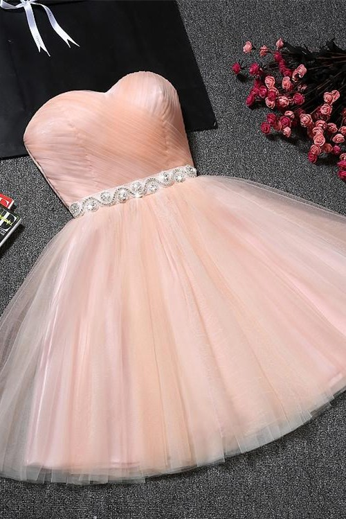 Lovely Sweetheart Prom Dress | 2020 Tulle Lace-Up Short Homecoming Dress