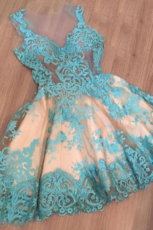 Short Tulle Sleeveless Appliques A-Line Newest Homecoming Dress BC0004