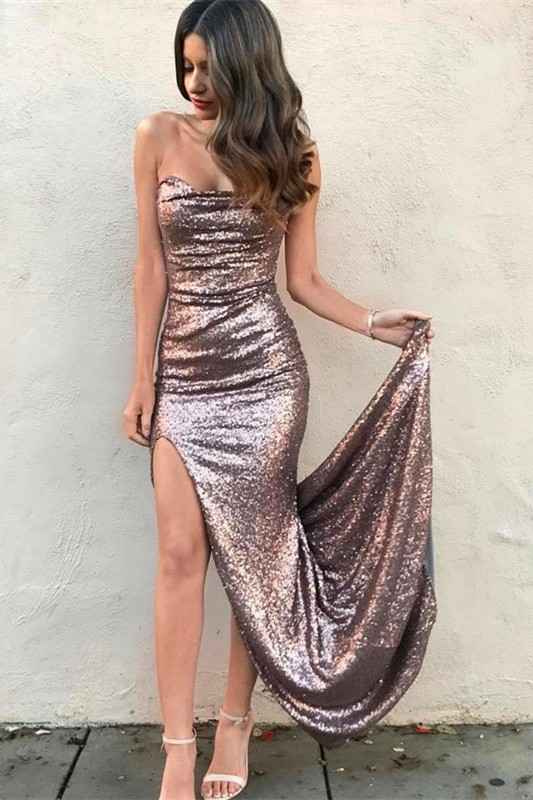 Sexy Strapless Sequins Mermaid Prom Dress 2020 Front Split On Sale