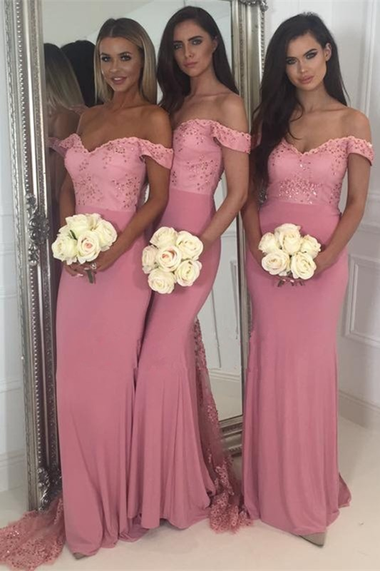 Off-the-Shoulder Pink Bridesmaid Dress | 2020 Mermaid Long Lace Bridesmaid Dresses