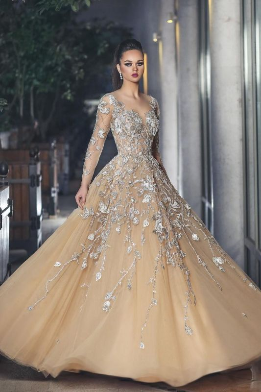 Glamorous Long Sleeve 2020 Evening Dress Tulle With Lace Appliques BA8501