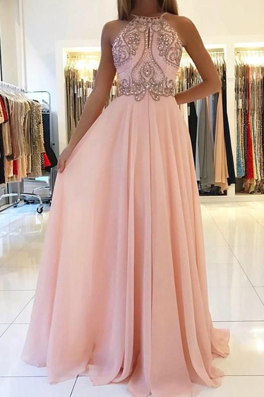Pink Halter Long Prom Dress | 2020 Chiffon Evening Dress With Crystal