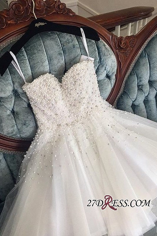 Knee-length Cute White Tulle Pearls Homecoming Dress BA9389