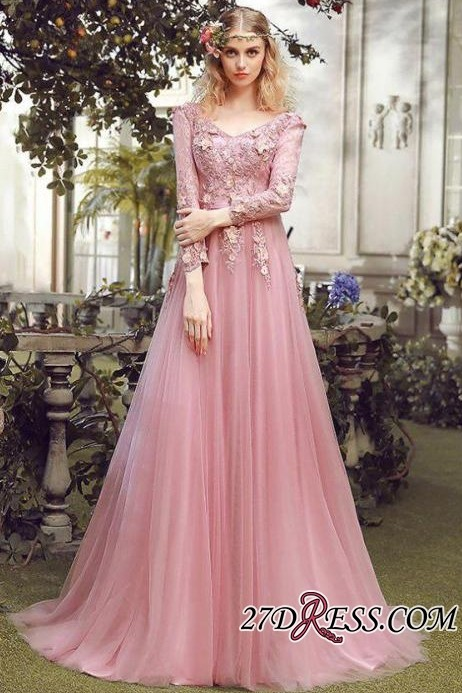 Long Sleeve Pink Evening Tulle | 2020 Prom Dress With Lace Appliques