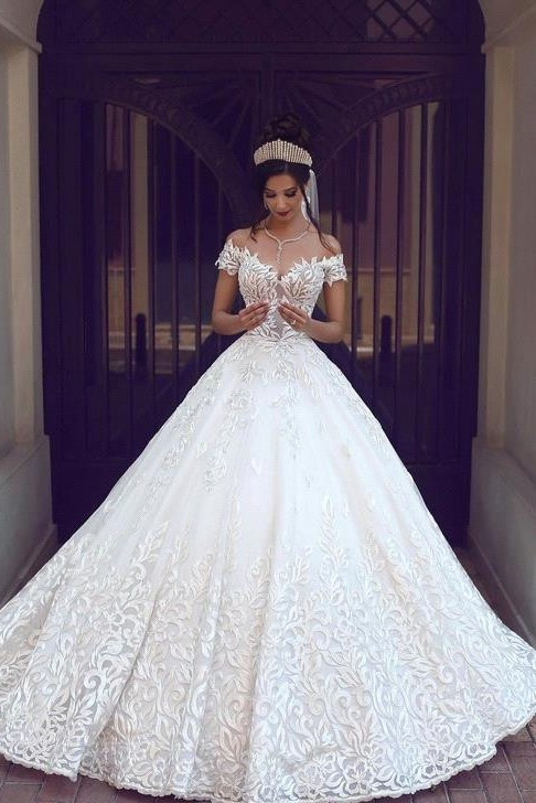 Chic Off-the-shoulder Short Sleeve 2020 Wedding Dress Lace On Sale