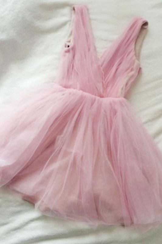 Tulle Cute Short Simple Pink V-neck Homecoming Dress