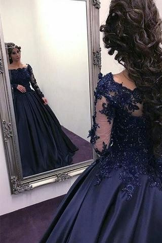 Navy Long Slaeeves Prom Dress | 2020 Ball-Gown Evening Gowns On Sale