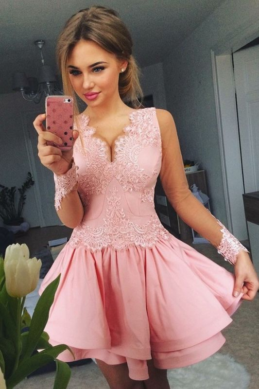 Lovely Pink Short Prom Dress | 2020 Lace Homecoming Dress