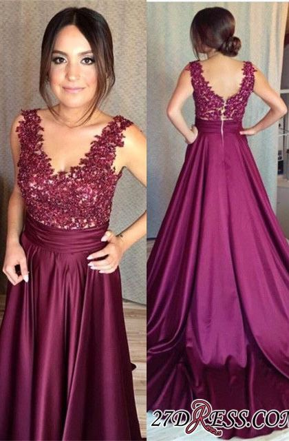 Sleeveless Appliques Zipper Gorgeous Lace Prom Dress BA7351
