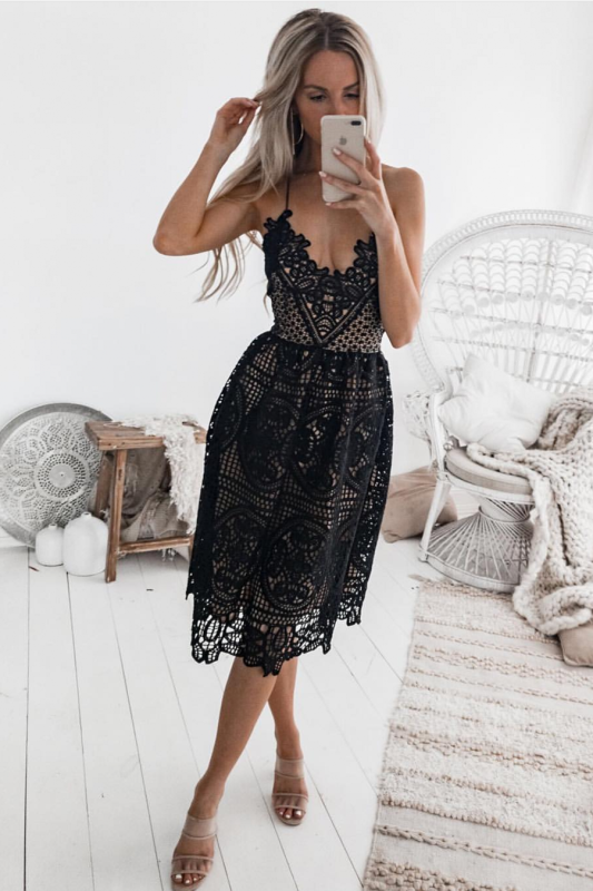 Sexy Black 2020 Short Homecoming Dress | Lace Spaghetti-Straps Party Dress