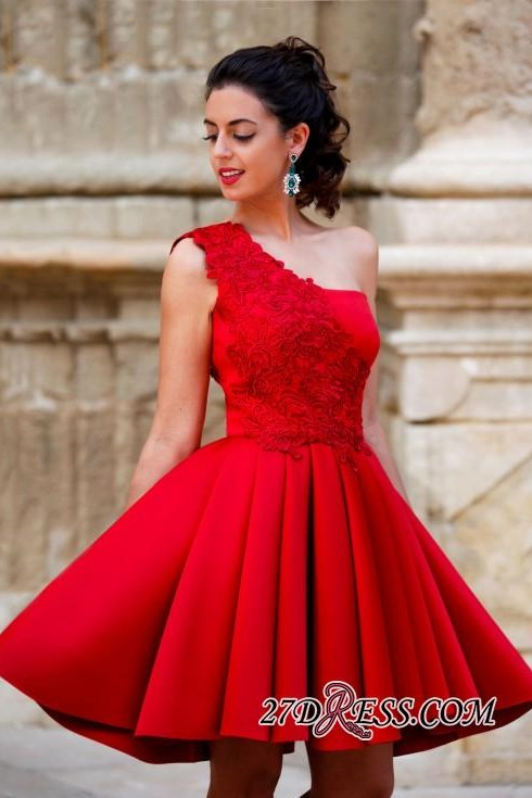 Red Appliques One-Shoulder Short Popular A-Line Homecoming Dress