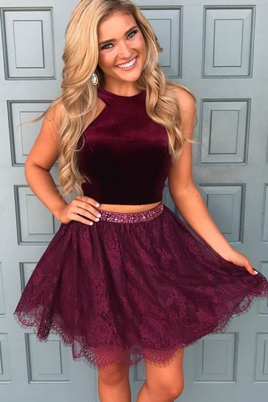 Beautiful Two Pieces Burgundy Lace Homecoming Dress Short With Sequins BA7014