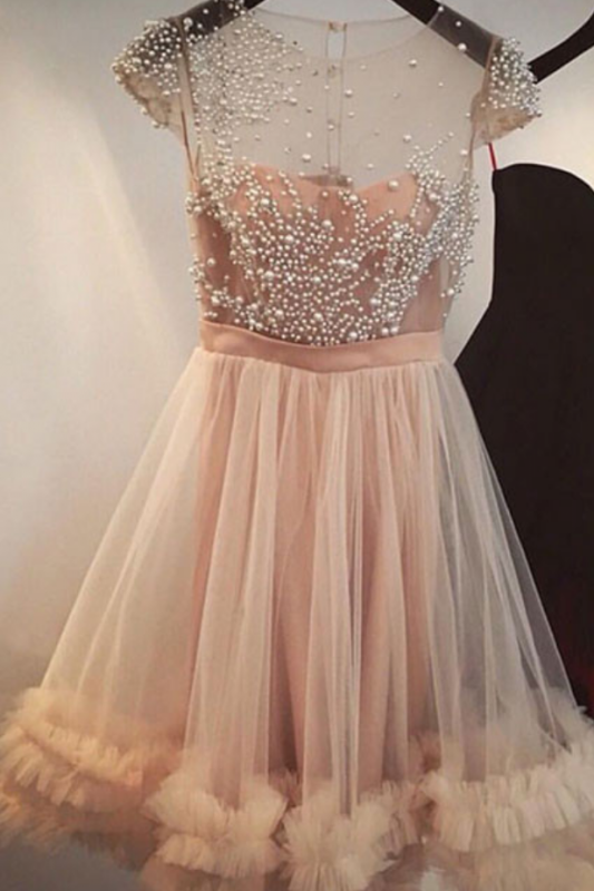 Tulle A-line Beading Capped-Sleeves Sheer Champagne Homecoming Dresses