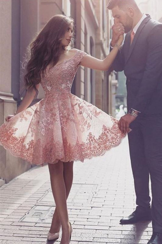 Gorgeous Short Sleeve Lace 2020 Homecoming Dress Short Tulle Prom Dress BA3500