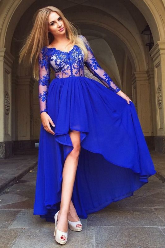 Delicate Royal Blue Long Sleeve A-line Homecoming Dress | Hi-Lo Party Gown