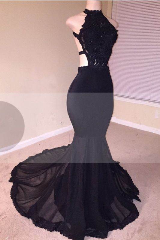 Black Lace Prom Dress | 2020 Halter Party Dress With Appliques BA8130
