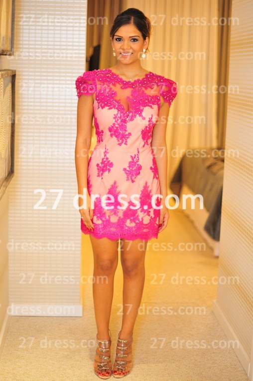 Formales Short Lace Prom Dresses 2020 New Arrival Cocktail Gowns Elegant Sleeves Sheer Fushcia Short Vestidos De Fiesta