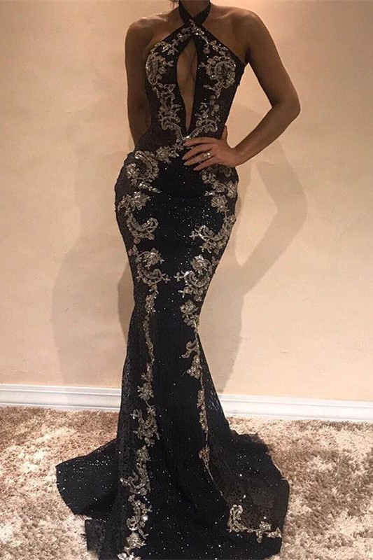 Glamorous Halter Black Evening Dress | 2020 Mermaid Sequins Prom Dress With Appliques BC0911